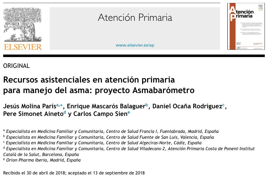 Publicación de Estudio Observacional Asmabarómetro